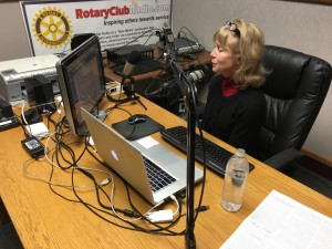 Kathy in the Rotary Club Radio Studio